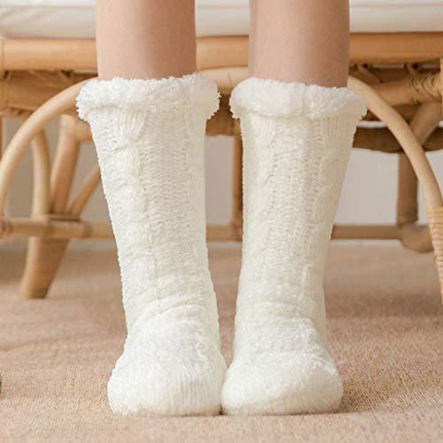 WPL Calcetines 2 Pares de Invierno Caliente Suave Zapatilla Calcetines sueño Acogedor Bed Calcetines for, Grueso de Punto Pesada Lana Forrada mullidas Calcetines Calcetines Deportivos pa