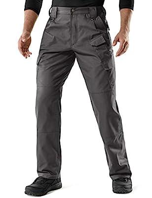 CQR Men's Tactical Pants, Water Repellent Ripstop Cargo Pants, Lightweight EDC Hiking Work Pants, Outdoor Apparel, Duratex Mag Pocket(tlp107) - Charcoal, 32W x 32L