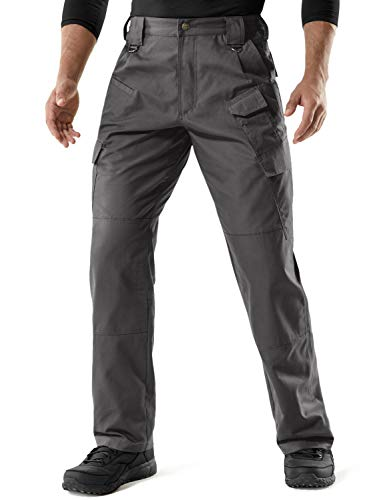 CQR Men's Tactical Pants, Water Repellent Ripstop Cargo Pants, Lightweight EDC Hiking Work Pants, Outdoor Apparel, Duratex Mag Pocket(tlp107) - Charcoal, 44W x 30L