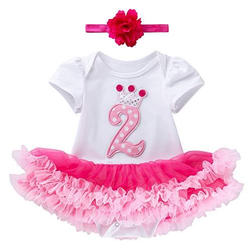Marlegard Baby-Mädchen erst Zweiter Geburtstag Outfit Stirnband (Hot Pink)