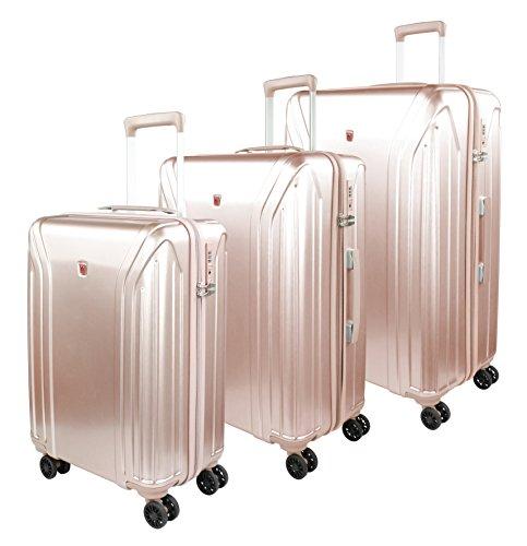 Traveller Hartschalen Kofferset New York (S, M & L) - 4 Rollen 3er Reisekoffer Set, Rose mit TSA Zahlenschloss
