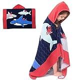 Badeponcho Kinder Kapuzenhandtuch Badetuch Bademantel Baumwolle Musselin Strandtuch für Schwimmen Mädchen Jungen Baby Weich Warm Trocknend Cartoon (Haie Party)