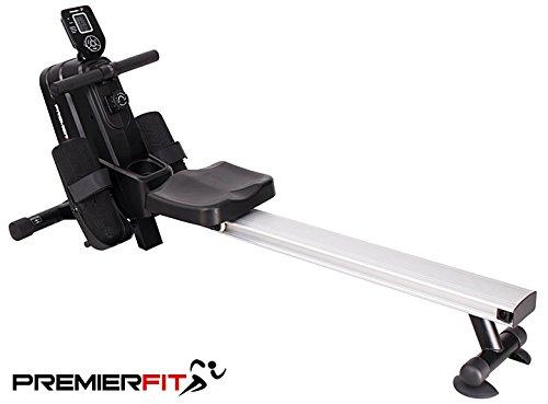 PremierFit R400 - Máquina de remo para el hogar con resistencia ajustable, multifunción, contador de calorías, soporte para bebidas, diseño plegable