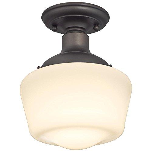 Westinghouse 6342200 Scholar - Lámpara de techo para interiores, semiempotrada, acabado en bronce aceitado con vidrio de ópalo blanco