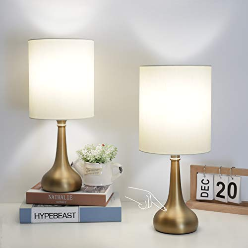 Set of 2 Bedside Touch Lamps 3 Way Dimmable Small Nightstand Lamp Boncoo Night Light Lamp Simple Touch Table Lamp with Brass Metal Base for Living Room Bedroom Office, A19 4000K Led Bulb Included