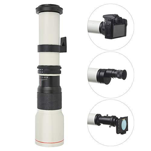 VBESTLIFE Teleobiettivo, plastica + Lega + Vetro Ottico 500mm F8 ‑ F32 Teleobiettivo a focale Fissa con Messa a Fuoco Manuale, per Fotocamera con Attacco EF Canon