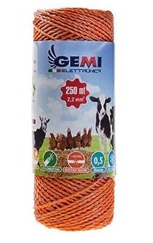 Gemi Elettronica Fil DE CLÔTURE ÉLECTRIQUE clôture électrifiée 250 MT 2,2mm pour Animaux Chevaux Chiens Vaches porcs Poules