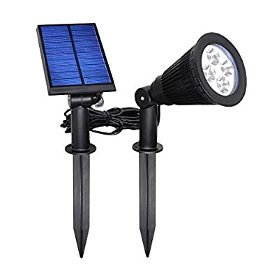 YINGHAO [New Upgraded] Solar Spot Lights Outdoor 2 in 1 Installation Waterproof Separated Panel and Light, Outdoor Solar Landscape Light Auto On/Off for Yard Garden Flag Pole Wall Pathway, Cool White