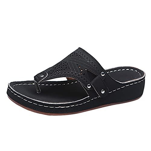 Dam tåseparator urholkning andas tofflor strand strand sandal lätt bekväm sommar fritidsskor, - 1 svart svart - 41 EU
