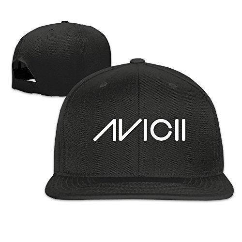 Hittings Avicii Ture Logo Flat Baseball Caps Hats for Unisex Black