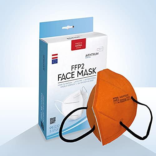 AVENTRIUM 5-25 Stück FFP2 Maske verschieden Farben - Made in Austria - Mundschutzmaske CE 2233 zertifiziert Atemschutzmaske 5 lagig | mit filter schutzmaske n95 atemschutz (5, Orange)