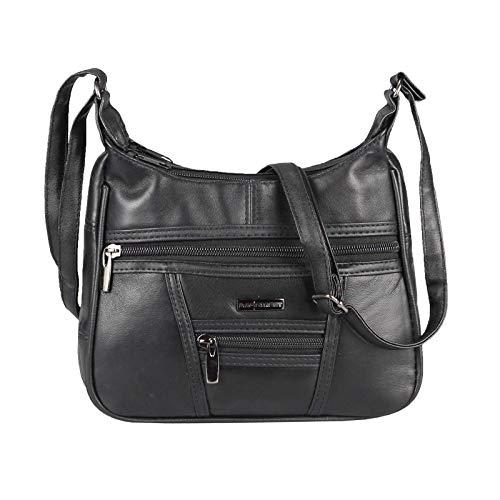 Kleine Lambskin Damen Leder Tasche Handtasche Überschlag Umhängetasche Schultertasche Clutch Damentasche Ledertaschen (Schwarz (22x17 cm))