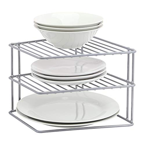 Taylor & Brown 3 Tier Corner Kitchen Plate Bowl Rack Stand Holder Tidy Cupboard Shelf Insert Storage Organiser, Space Saving, H19 x W25 x D25cm, Grey