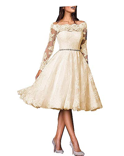 Natasha Women's Off Shoulder Lace Wedding Dress Long Sleeve Bride Wedding Gowns Tea Length Champagne
