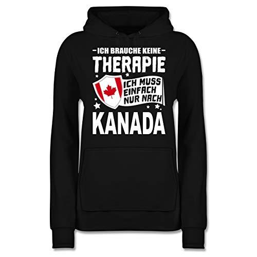 Länder - Ich Brauche Keine Therapie Ich muss einfach nur nach Kanada - weiß - XS - Schwarz - JH001F_Hoodie_Damen - JH001F - Damen Hoodie und Kapuzenpullover für Frauen