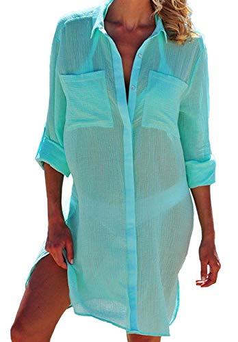 JFAN Damen Strandkleid Bikini Chiffon Sommer Cover Ups Strandponcho Bademode Strand Vertuschen Crinkle Tunika Shirt für Reisen Urlaub