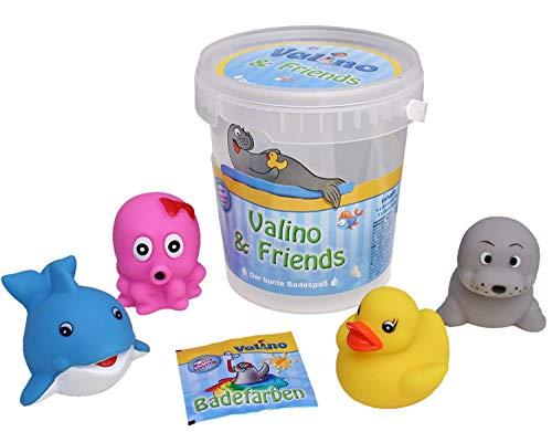 Valino Friends Badefarbe und 4 Badetiere mit Spritzfunktion