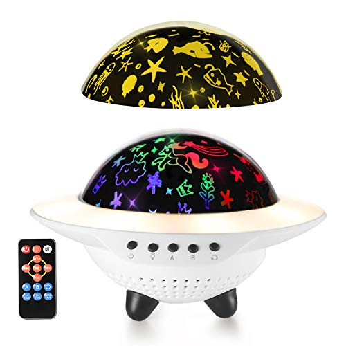 Star Night Light, Ohuhu Baby Light Projector, Bedside Nursery Lamp, UFO Shape Sleep Soother Mood Light, 6 Projector Film 9 Different Colors, Bluetooth Music Speaker, for Kids Bedroom Party Decor Gift