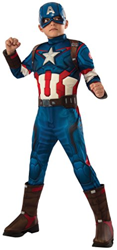 Rubies Capitán América - Disfraz deluxe, para niños, talla 8-10 años 610425-L