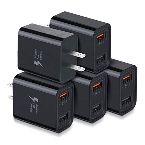 Quick Charge 3.0 USB Wall Charger, Costyle 5 Pack 30W Dual 2 Ports Adapter (Fast Charge 3.0 & 5V 2.4A) Adaptive Fast Charging Block Compatible for iPhone 11 XS XR, Samsung Galaxy S10 S9 (Black)