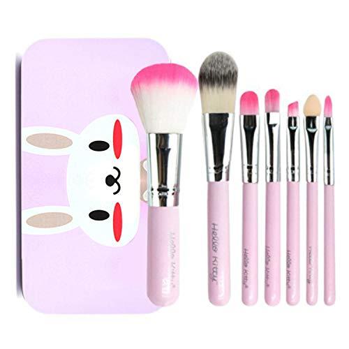 7PCS Maquillage Brosses, Joyhoop Lot Pinceau Maquillage Yeux Fibre Artificielle Pinceau avec Bo?te De Fer pour Femmes Filles Cadeau