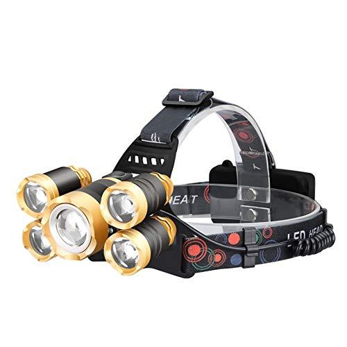 Tao-Miy LED Induction Forte Lumière USB Charge Extérieure Imperméable 5 Porte-Lampe T6, Lampe-Torche Multifonction Fixée sur La Tête, Convient pour La Pêche Au Camping