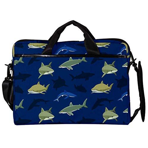 TIZORAXLaptop Messenger Schultertasche Underwater Shark Pattern Computer Sleeve Notebook-Tragetasche 15-15,4 Zoll Handtasche