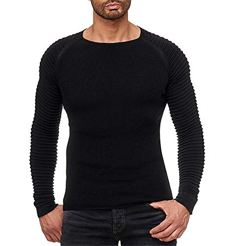 Men's Knitted Jumpers Basic Long-Sleeved Round Neck Sweatshirt Solid Color Slim fit fine Knit Sweater Pullover Classic Sweater top with Shoulder Pleats Warm Simple All-Match Breathable top XXL