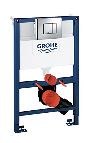 GROHE 38773000 Rapid Sl 3-in-1 Set for Wall-Hung Toilet, 0.82 m (Wall Brackets and Skate Cosmopolitan Chrome Flush Plate…