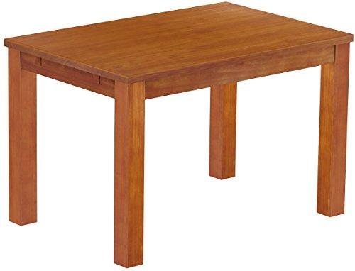 Brasilmöbel Esstisch Rio Classico 120x80 cm Kirschbaum Massivholz Pinie Holz Esszimmertisch Echtholz Größe und Farbe wählbar ausziehbar vorgerichtet für Ansteckplatten