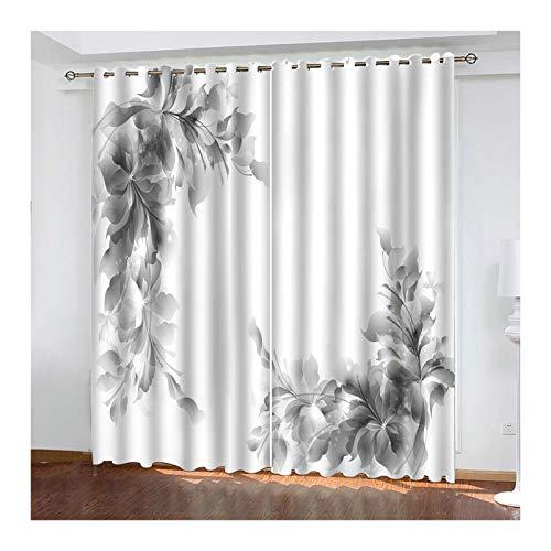 ANAZOZ 2er Set Gardine Vorhänge 264x115cm Verdunklungsvorhang Polyester Blumen Grau Gardine für Wohnzimmer Kinderzimmer Schlafzimmer