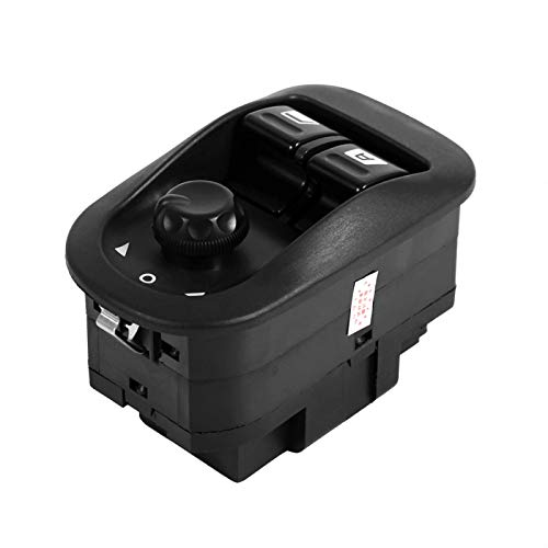 Interruptor de espejo lateral de coche, botón elevador de ventana eléctrico de coche interruptor de control de espejo lateral profesional apto para Citroen 206 negro