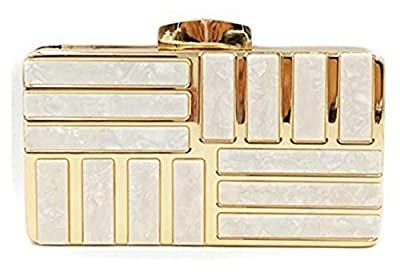 Tooba Handicraft Party Wear Beautiful Metallic Acrylic Box Clutch Bag Purse For Bridal, Casual, Party, Wedding (Both Sides Exactly Same)