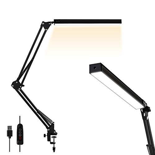 LED Desk Lamp, AXUF Metal Swing Arm Desk Lamp with...