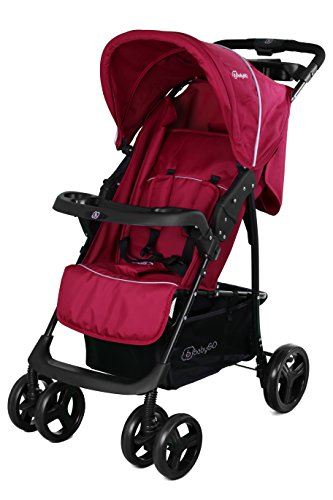 BabyGO 6301 Basket Buggy Sport Kinderwagen mit voller Liegefunktion optional 2in1, rot