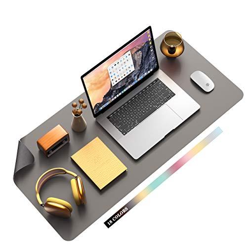 Multifunktionales Office Mauspad, YSAGi Wasserdichte Schreibtischunterlage aus PU-Leder, Ultradünnes Mousepad zweiseitig nutzbar, ideal für Büro und Zuhause (Dunkelgrau, 90 * 43 cm)