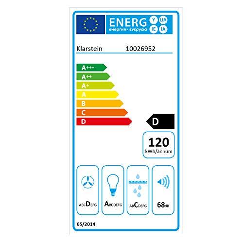 Klarstein Bon Vivant - Campana extractora, Capacidad de absorción de 650 m³/h, 230 W de Potencia, silencioso, Panel de Control táctil, 3 Niveles de Intensidad, montado en Pared, Rojo