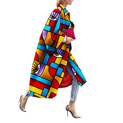 Katenyl Abrigo de mezcla de moda clásica con estampado multicolor para mujer Streetwear Chaqueta cálida de moda europea y americana relajada sexy 3XL