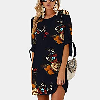 CEGFXCSW Dress Women Summer Dress Boho Style Floral Print Chiffon Beach Dress Tunic Sundress Loose Mini Party Dress Plus Size 5Xl