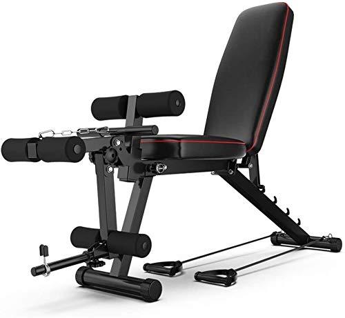 ALYR Abdominal Sit-up Board, einstellbares Gewicht Bank mit Rudergerät Flachneigungsprogramm Übung Workout Bench Sit Up Hauptgymnastik-Ausrüstung für Ganzkörpertraining,Black