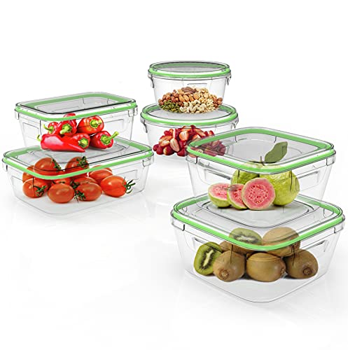 Home Fleek - Envases de Vidrio para Alimentos | 6 Recipientes + 6 Tapas | Herméticos | Sin BPA (Set 6, Mixto Verde)