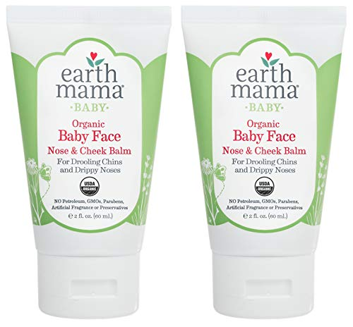 Organic Baby Face Nose amp Cheek Balm for Dry Skin by Earth Mama | Natural Petroleum Jelly Alternative 2Fluid Ounce 2Pack