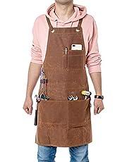 Fushida Heren Tool Schort met Multi Pockets, Waxed Canvas Carpenter Apron, Heavy Duty Workshop Schort voor timmerman, chef-koks, kunstenaar, Workman Brown