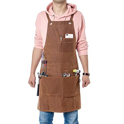Fushida - Delantal para herramientas con múltiples bolsillos, tela encerada, resistente, delantal de carpintero, chefs, artistas, trabajador, color marrón