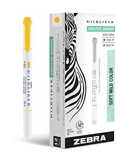 Zebra Pen Mildliner Double Ended Highlighter Marker Set, Broad and Fine Point Tips, Mild Gold Ink, 12-Pack