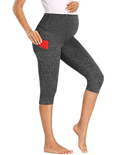 Love2Mi Pantalones de entrenamiento para mujeres embarazadas, pantalones de yoga de 3/4 con bolsillos negro y marrón L