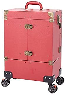 Nail Makeup Trolley Case Large Capacity with Key Lock Cosmetic Box Luggage Rolling Multilayer Beauty Salon Tattoo Trolley Suitcase - Red Black (Color : Pink)