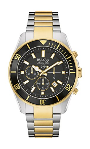 Bulova - Reloj Marine Star 98B249 de Cuarzo para Hombre con Indicadores de cronógrafo duales Negros, Correa en Dos Tonos de Acero Inoxidable y chapada en Oro
