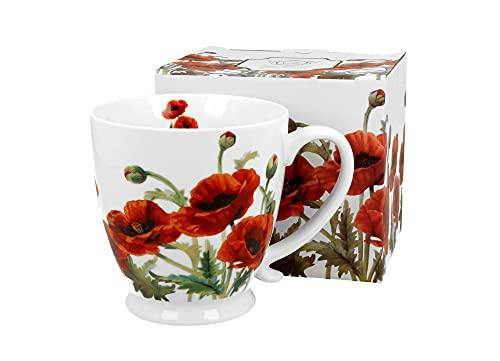 DUO Kaffeetasse Classic Mohn mit Fuß 450ml große Tasse Teetasse Kaffee-Tasse Tee-Tasse Tasse für Tee und Kaffee Blumenmotiv Kaffeebecher Porzellan Kaffee-Becher Teebecher
