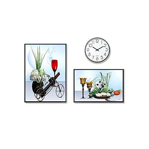 Einfache Restaurant Wanddekoration Wandbild dreiteilige Wanduhr runde Uhr Esszimmer Wanddekoration...